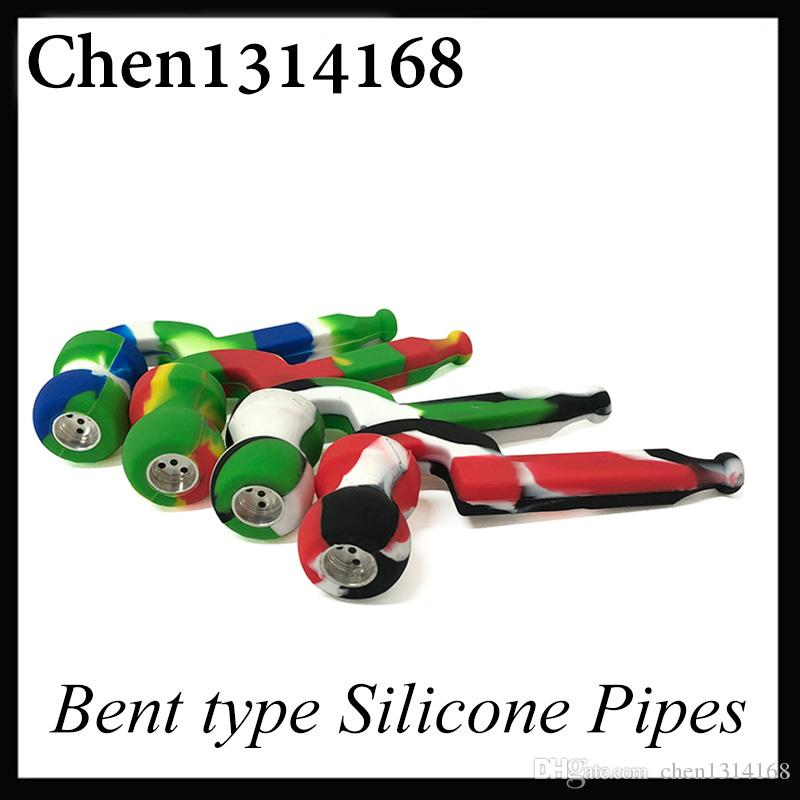 Bent type Silicone Pipes Metal Stitching Many Colors High Quality Mini Smoking Pipe Unique Design VS Silicone Nectar 0266206-1