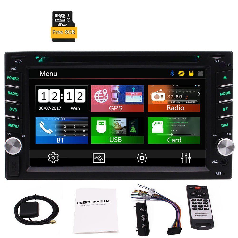 EinCar 6.2'' Double Din Dash Car DVD Player GPS Car Stereo 1080P Bluetooth USB AUX Dual Card Slot Radio+GPS MAP Remote Control