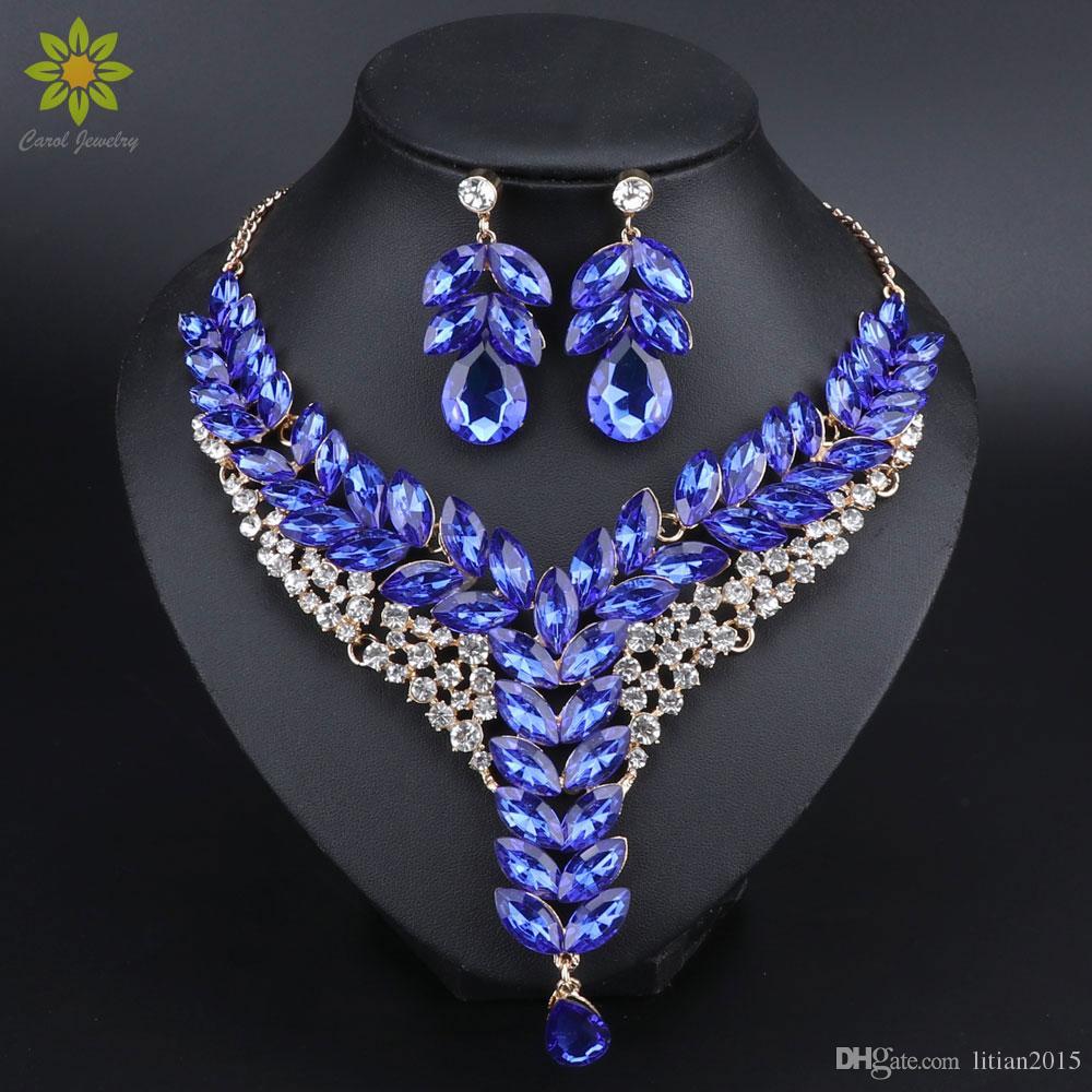 5Color indiano strass nupcial conjunto de jóias casamento acessórios de festa de ouro cor de ouro colar brinco para noivas mulheres