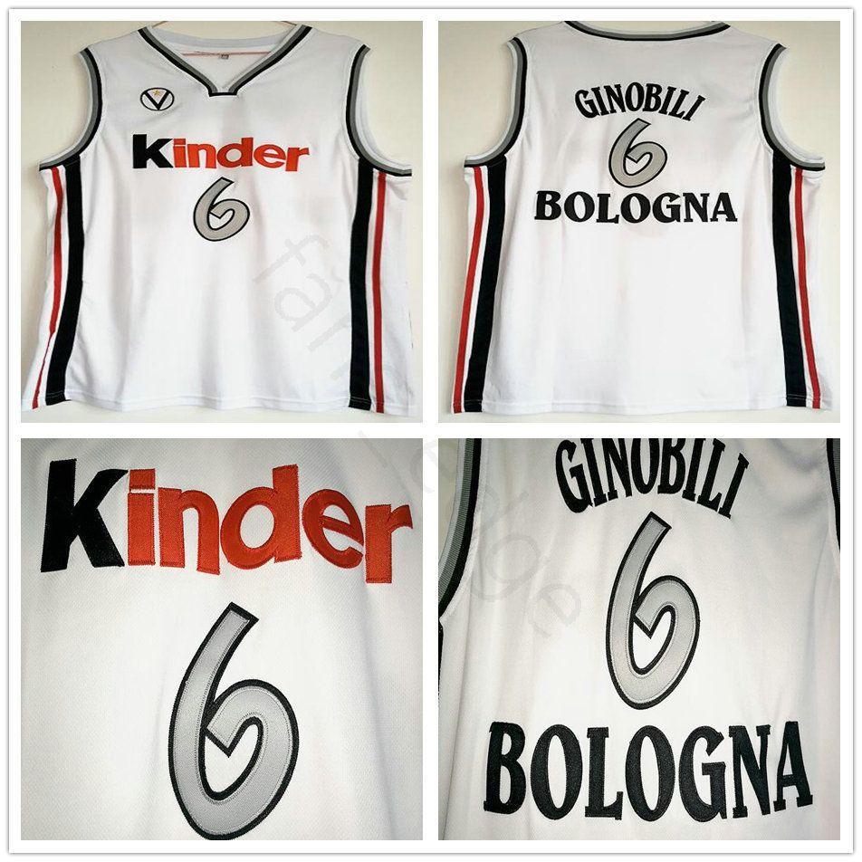 Manu Ginobili Jersey # 6 Virtus Kinder Bologna camisetas de baloncesto europeas cosidas para hombre Camiseta blanca De Baloncesto Camiseta de baloncesto