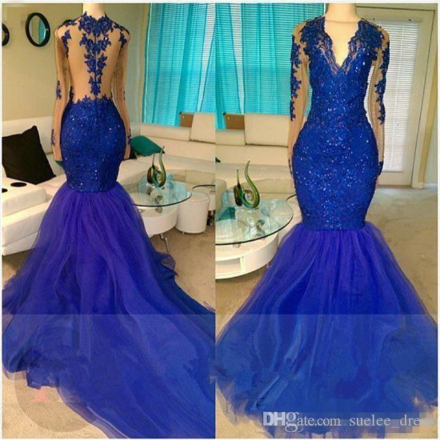 2018 New Royal Blue Mermaid Dress Serata sexy Illusione Sexy Back Sheer Neck Manica Lunga Sequines formale Prom Party Ball Gown