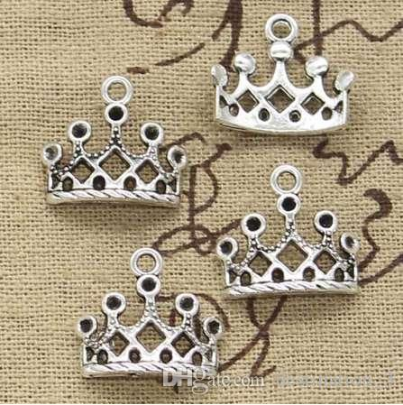 8pcs Charms corona 16 * 18mm Antique fare pendente misura, Vintage argento tibetano, collana braccialetto fai da te