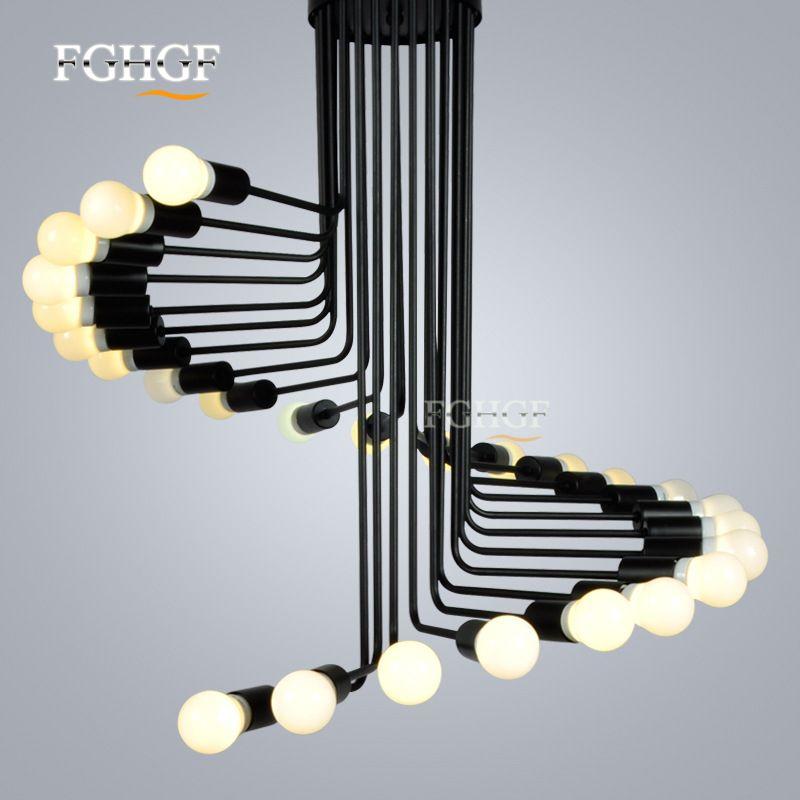 현대 로프트 산업용 샹들리에 조명 바 계단 식당 조명 레트로 샹들리에 램프 설비 Lustres de Pendant 램프 고정물
