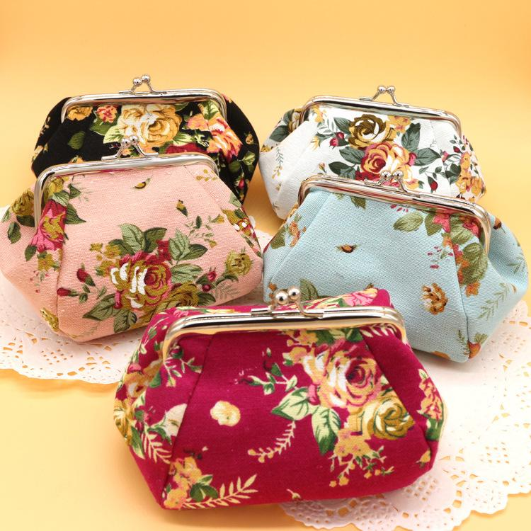 Europe and the United States canvas Zero Wallet cloth Lady Little Wallet hand key bag fastening Gold bag Wholesale