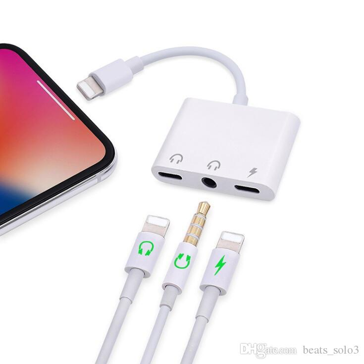 premium selection 6969b 97cd7 3 In 1 Adapter For Ios11 For Iphone X 7 8 Plus Charge Charging + Dual For  Music Lightning/3.5mm Audio Connector In Opp Bag Cheap Phone Cables Phone  ...