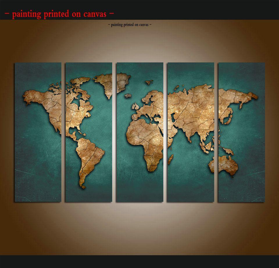 Atlas Mundial Moderno Abstrato mapas Bandeiras Single Canvas Wall Art Foto Impressão