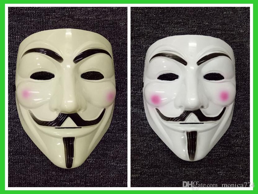 V For Vendetta White Costume Mask Guy Fawkes Anonymous Purge Costume Prop LOT