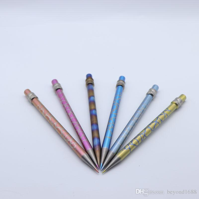 새로운 컬러 연필 GR2 티타늄 Dabber 도구 오일과 왁스에 대한 드라이 허브 허브리스 티타늄 네일 유리 봉 Dab Rigs Water Pipes