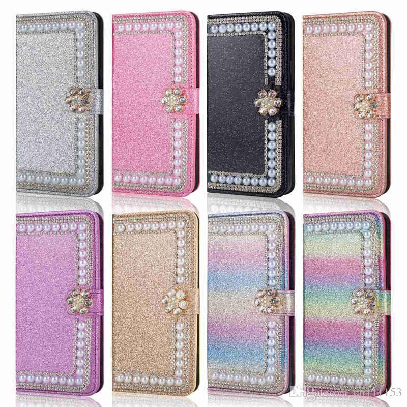 Case For Huawei P8 Lite(2017) P9 Lite(2017) P8 Lite P9 Lite P8 Glitter Shine Rhinestone Pearl Card Holder Wallet Full Body