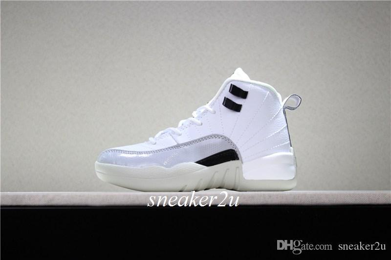 Zapatos de baloncesto para niños 12 BARONS blanco negro-lobo gris Niños 12 Calzado deportivo moda niños niñas zapatillas de deporte tamaño EE. UU. 11c-3y