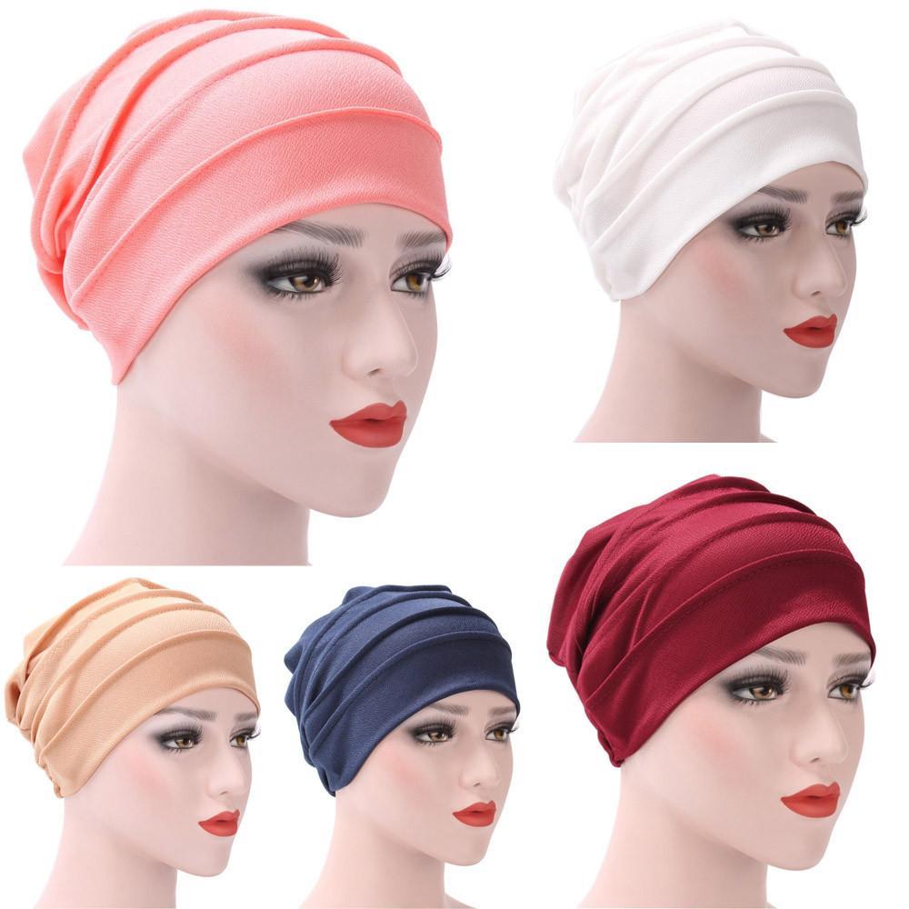 Mujeres India Sombrero Musulmán Ruffle Cáncer Chemo Sombrero Beanie Bufanda Turbante Head Wrap Cap Casual Algodón Mezcla cómoda Material suave Y18102210