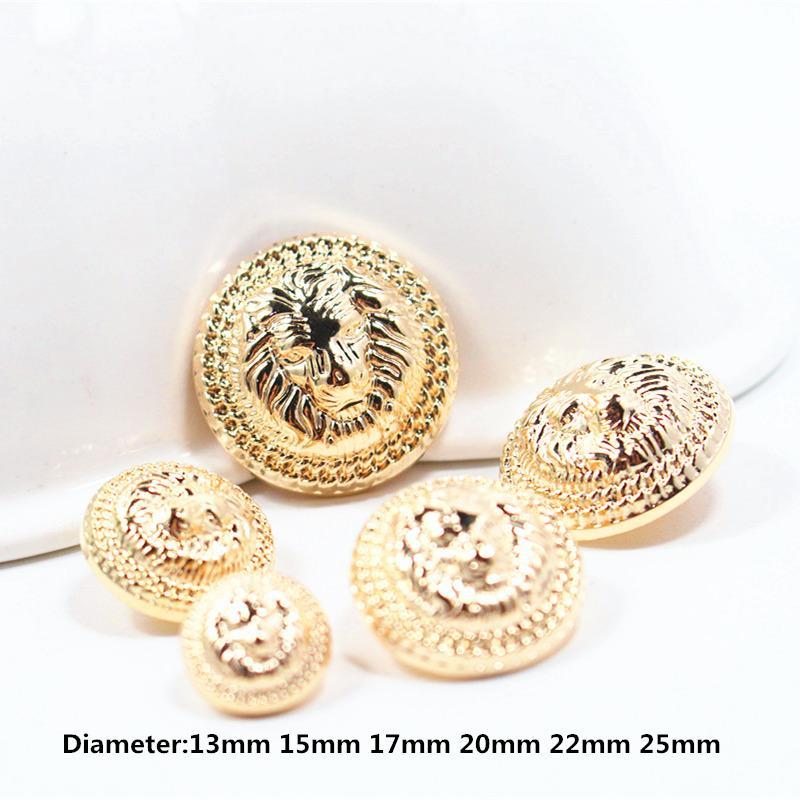 금 사자 직경 13mm-25mm 금 단추, 의류 부속품, 셔츠, 외투 상표 단추, w8 10PCS