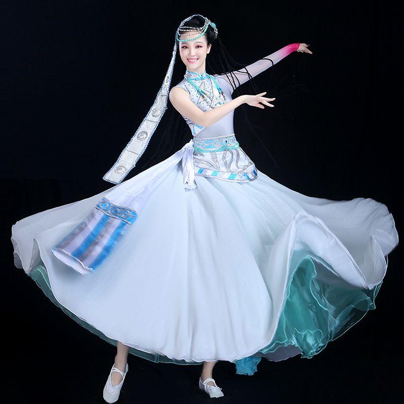 Big Swing Skirt Chinese Folk Dance Costume Performance Blue Single Long-sleeved Rhinestone Neon Dance Clothes Hmong  Saree