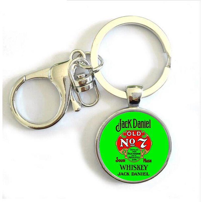 HZ New Jack Daniel Old NO 7 Whiskey Round Keychain Glass Dome Photo Keyring Gifts For Men Silver Bacardi Key Holder