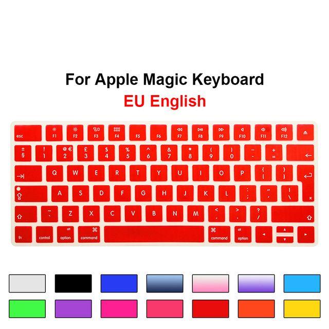 تغطي لوحة المفاتيح السحرية من الاتحاد الأوروبي / المملكة المتحدة فيلمًا واقيًا من السيليكون لـ Apple Keyboard Keyboard MLA22B / A تخطيط لوحة المفاتيح الأوروبية / ISO