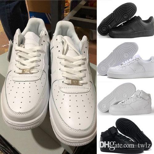 Großhandel Nike Air Force One 1 Af1 Klassische Alle Weiß Schwarz Low High Cut Männer Frauen Sport Turnschuhe Laufschuhe Ein Skate Schuhe Größe 36 46