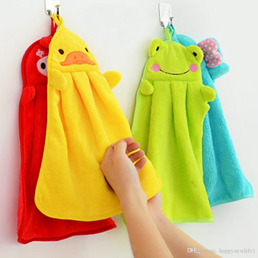 طفل الحضانة منشفة اليد مناشف حمام طفل لينة القطيفة الكرتون الحيوان مسح شنقا منشفة الاستحمام للأطفال الحمام