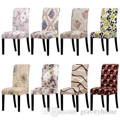 Cubierta de la silla de impresión Estiramiento Fundas extraíbles lavables Cubiertas Fundas de asiento protectoras para el comedor del hotel banquete decoración en casa
