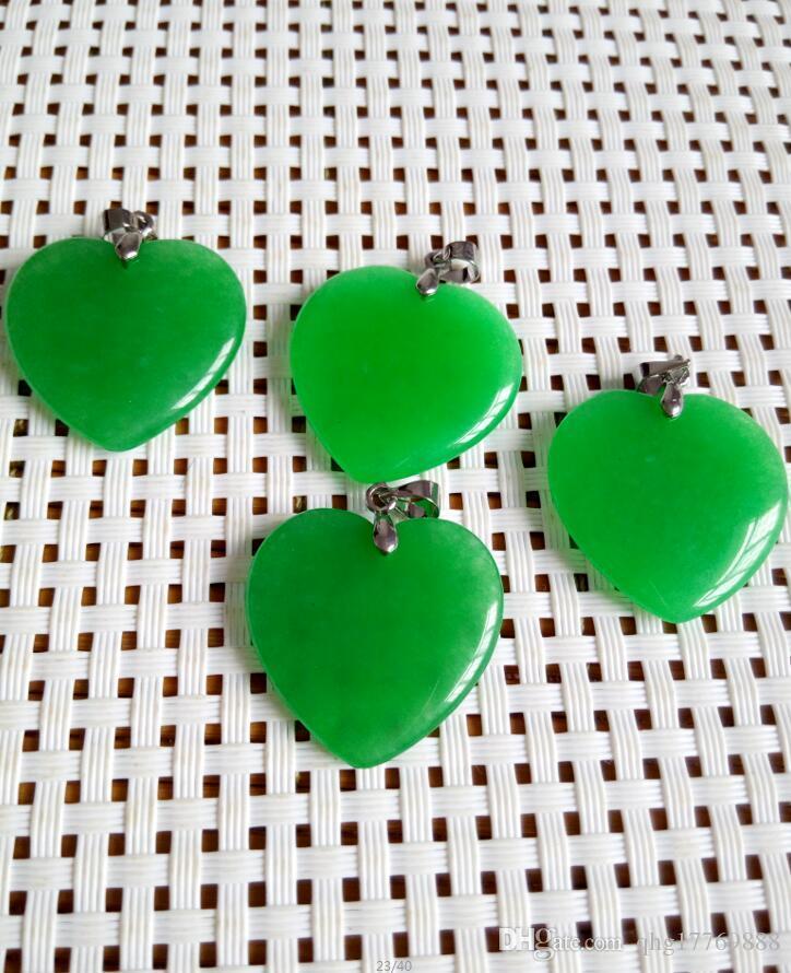 a buon mercato all'ingrosso giada verde smeraldo di cuore argento ciondolo / collana B1