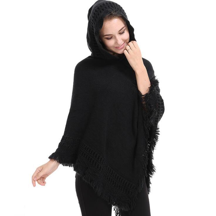 Outono Inverno Mulheres Cardigans De Malha Solta Camisola De Tricô Das Senhoras Poncho Das Mulheres Quente Cachecol Poncho Capes Xaile Casaco Sólido Casual Blusas
