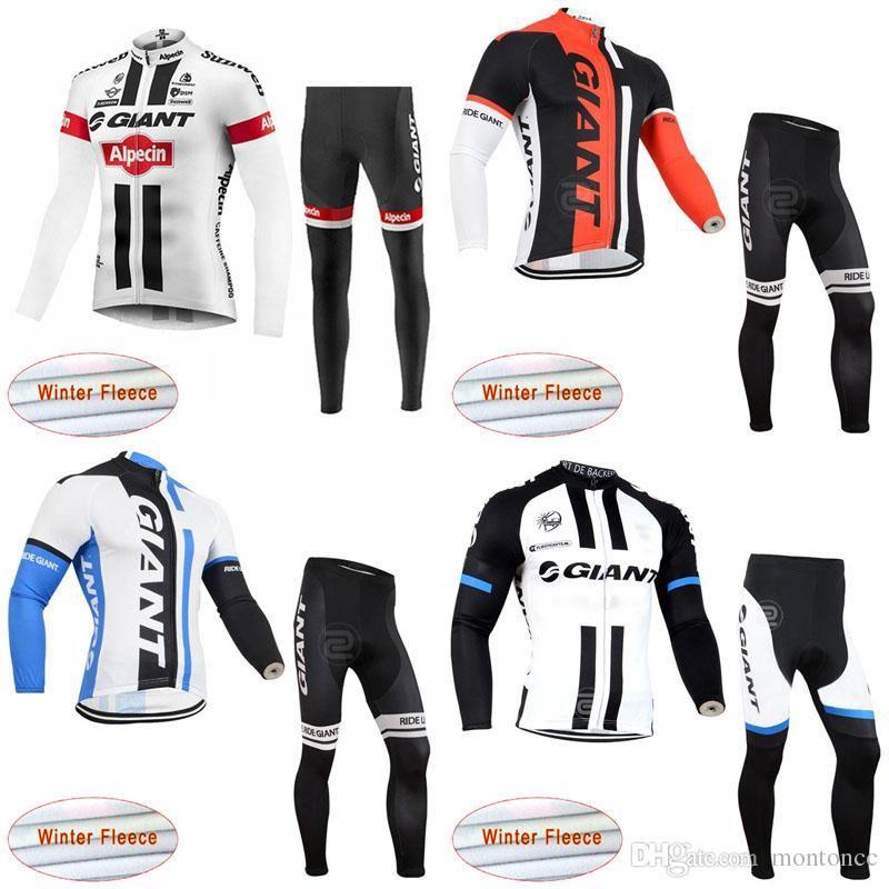 GIANT team Cycling Winter Thermal Fleece jersey pants establece traje de bicicleta de manga larga ropa de ciclismo de invierno para hombres c3117
