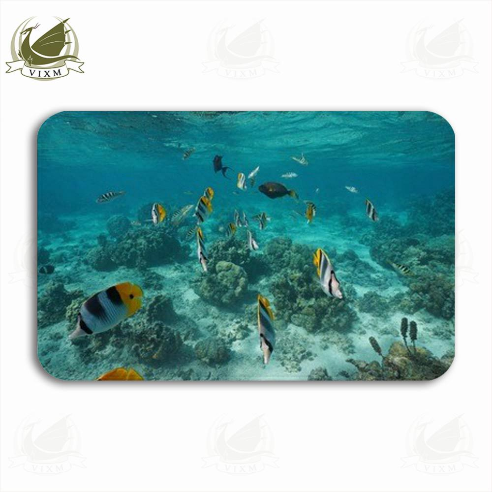 Vixm Tropical Fish In The Lagoon Of The Island Pacific Welcome Door Mat Rugs Flannel Anti-slip Entrance Indoor Kitchen Bath Carpet