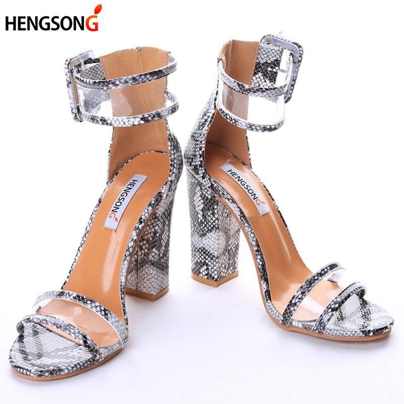 Le più nuove donne pompe scarpe sexy trasparente trasparente fibbia sandali tacchi alti scarpe partito scarpe donna TR912509