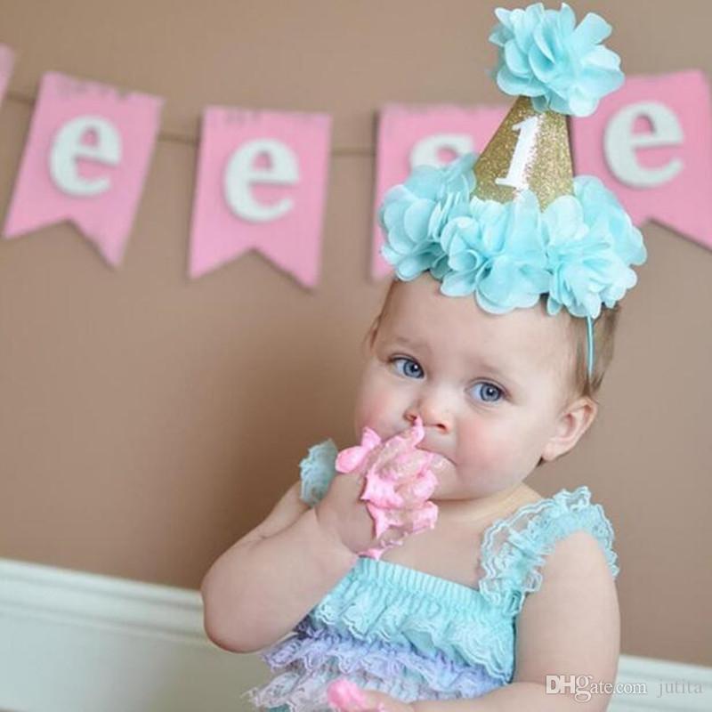 Детские Принцесса 1 год старый номер цветок оголовье день рождения шляпа детские аксессуары для волос на День рождения Фото реквизит платье декор