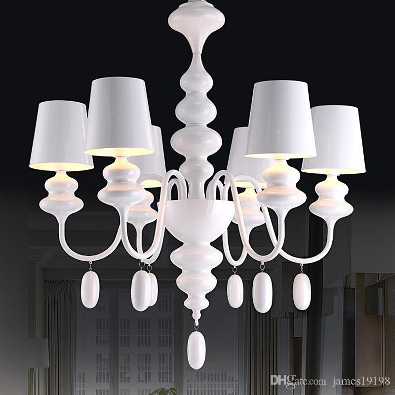 Lampadari semplici semplici di lusso in metallo bianco Lampadari a LED art 8/10 / 18 teste Per soggiorno camera da letto hotel Illuminazione domestica G268