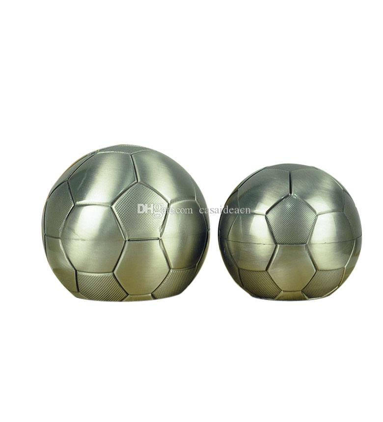 Fashion Football Penny Box Creative Soccer Shaped Metal Piggy Bank Coin Saving Bank Birthday Children Gift Pewter Plated Finish