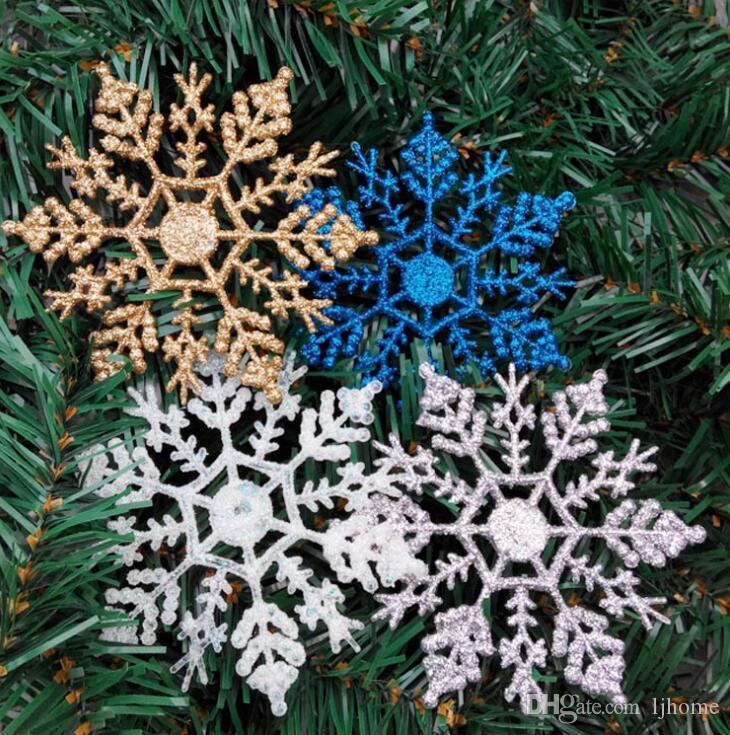 48 Stücke 10 CM Weihnachtsbaum Schneeflocken Dekorationen Hängen Schneeflocken Decke Party Ornamente Weiß Glitter Outdoor Schneeflocke Party Ornamente
