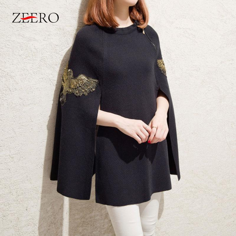 Sweater Pullovers Women Embroidery Beading Pullovers Casual Streetwear Poncho Cape Cloak Knitted Wool Black Sweater Overcoat