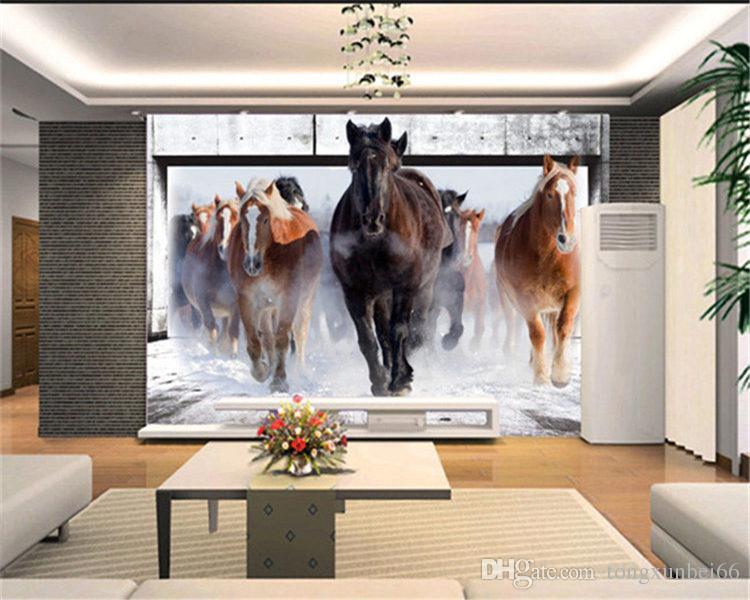 Horse Run Custom Photo Wallpaper Art Wallpaper Retro Sofa Backdrop