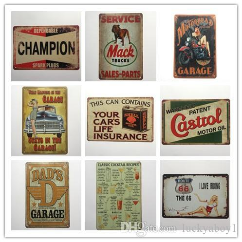 Cocktail Champion Castrol Route 66 Garage Retro rustic tin metal sign Wall Decor Vintage Tin Poster Cafe Shop Bar home decor
