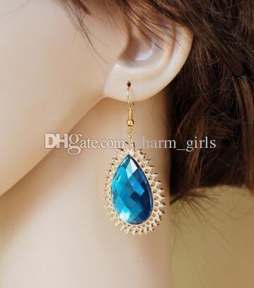 nouvelle mode européenne et américaine chaude boucles d'oreilles en cristal plaqué or style bohème chic et classique