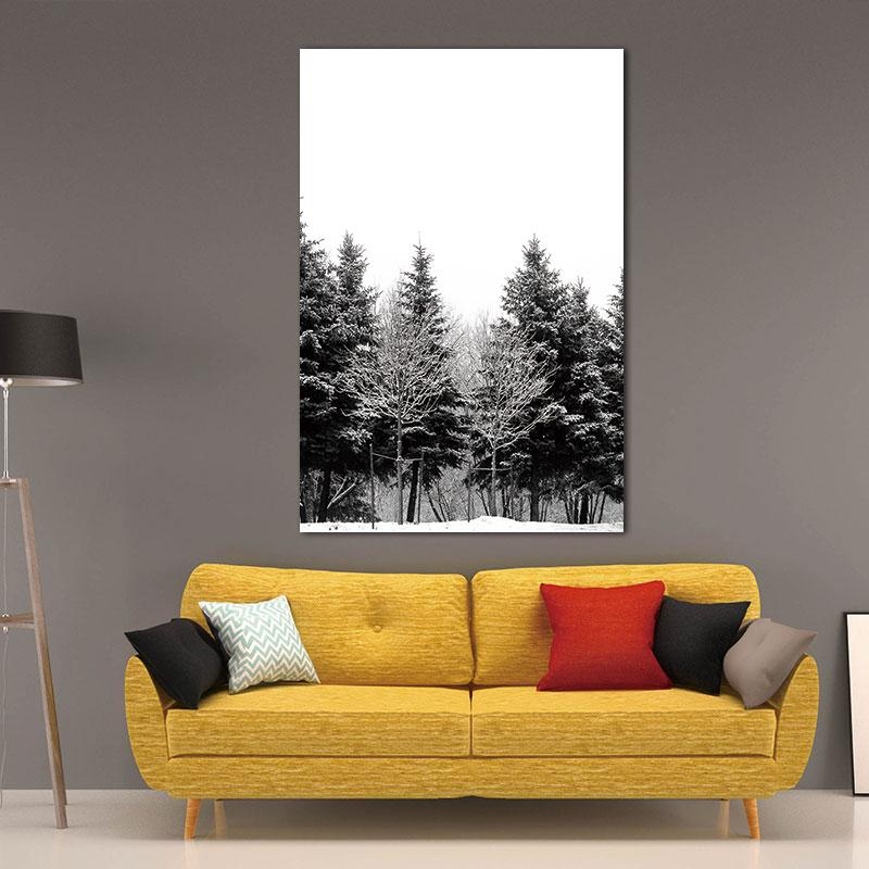 Waterproof Pictures Canvas Painting Prints Scandinavian Nordic Abstract Art Winter Snow Forest Trees Decoration Pictures Unframed
