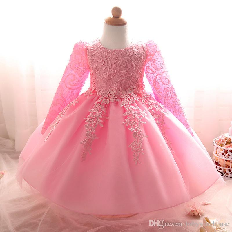 Robes De Fille De Fleur Enfants Bébé Vêtements De Fille Première Robe De Communion Robe De Baptême Toddler Filles Dentelle Princesse De Mariage Robe De Fête D'anniversaire