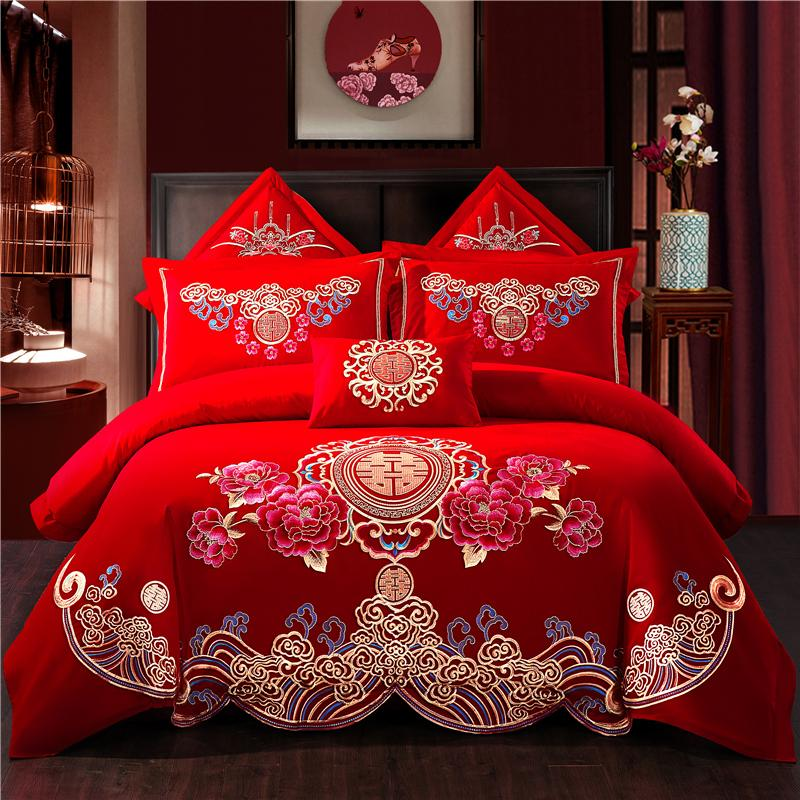 100% Cotton Sweet Flower Wedding Bedding Set Embroidery Duvet Cover Bed Sheet Pillowcases Queen King Size 4/6/7pcs