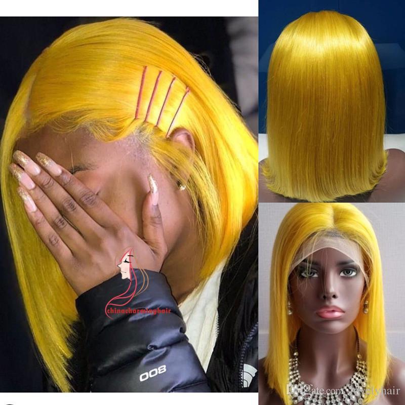 Yellow Bob Human Hair Wig Silky Straight