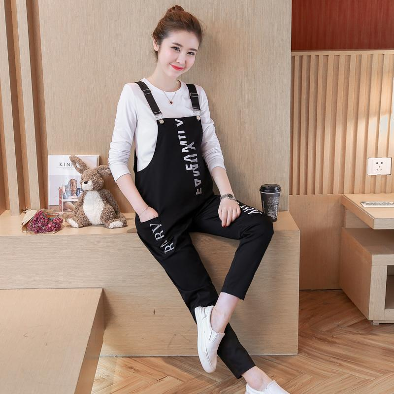 Letter Printed Cotton Maternity Jumpsuits Spring Summer Fashion Bib Overalls Pants Clothes for Pregnant Women Pregnancy