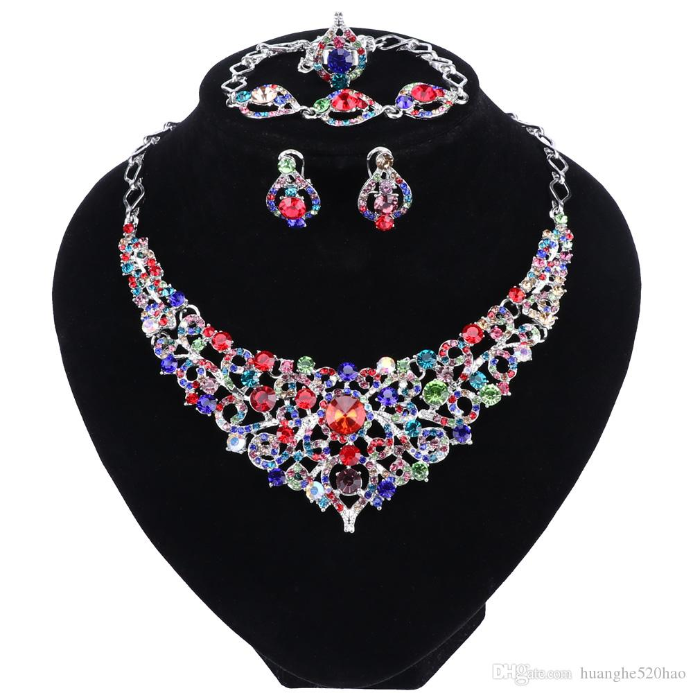Lady Wedding Party Crown Bracelet Necklace Jewelry Set Crystal Ring Earring