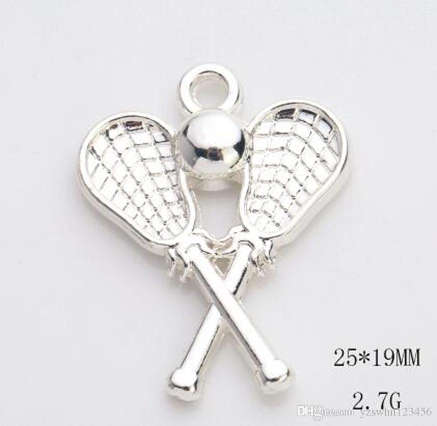 Colgante de bola de palo de lacrosse plateada plateada con anillo de salto para collar de joyería para la fabricación de joyas de bricolaje