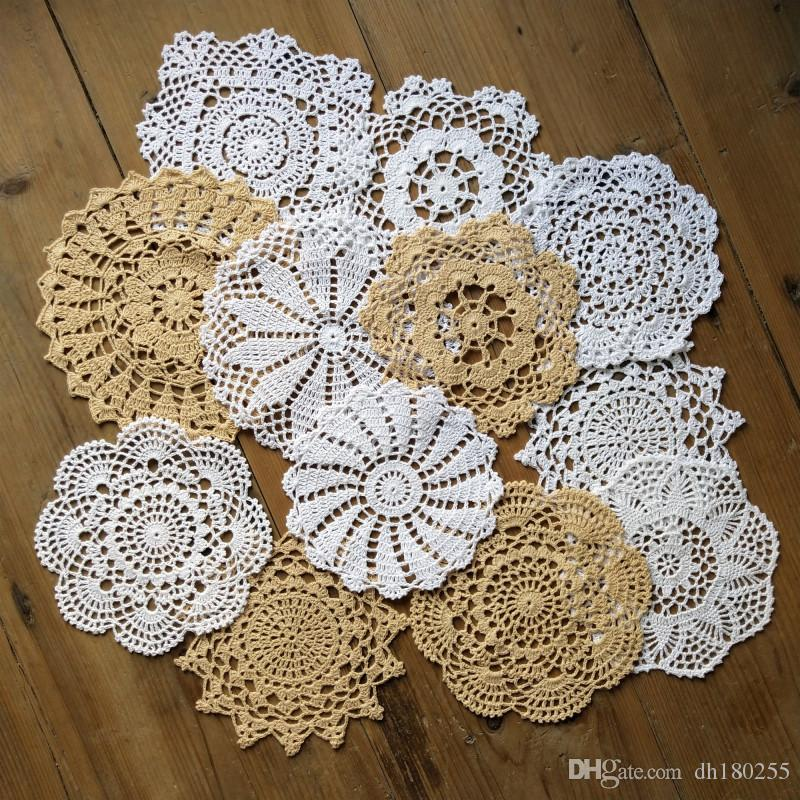 "2 Pk Crochet Doilies 100/% cotton hand Crafted 9"" Round Ivory Color New"