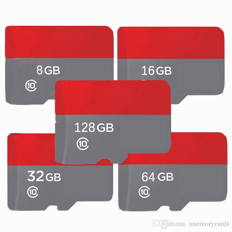 2019 핫 레드 유니버설 32 기가 바이트 64 기가 바이트 128 기가 바이트 256 기가 바이트 C10 TF 플래시 카드 무료 어댑터 소매 물집 포장 Epacket DHL 무료 Shiipping