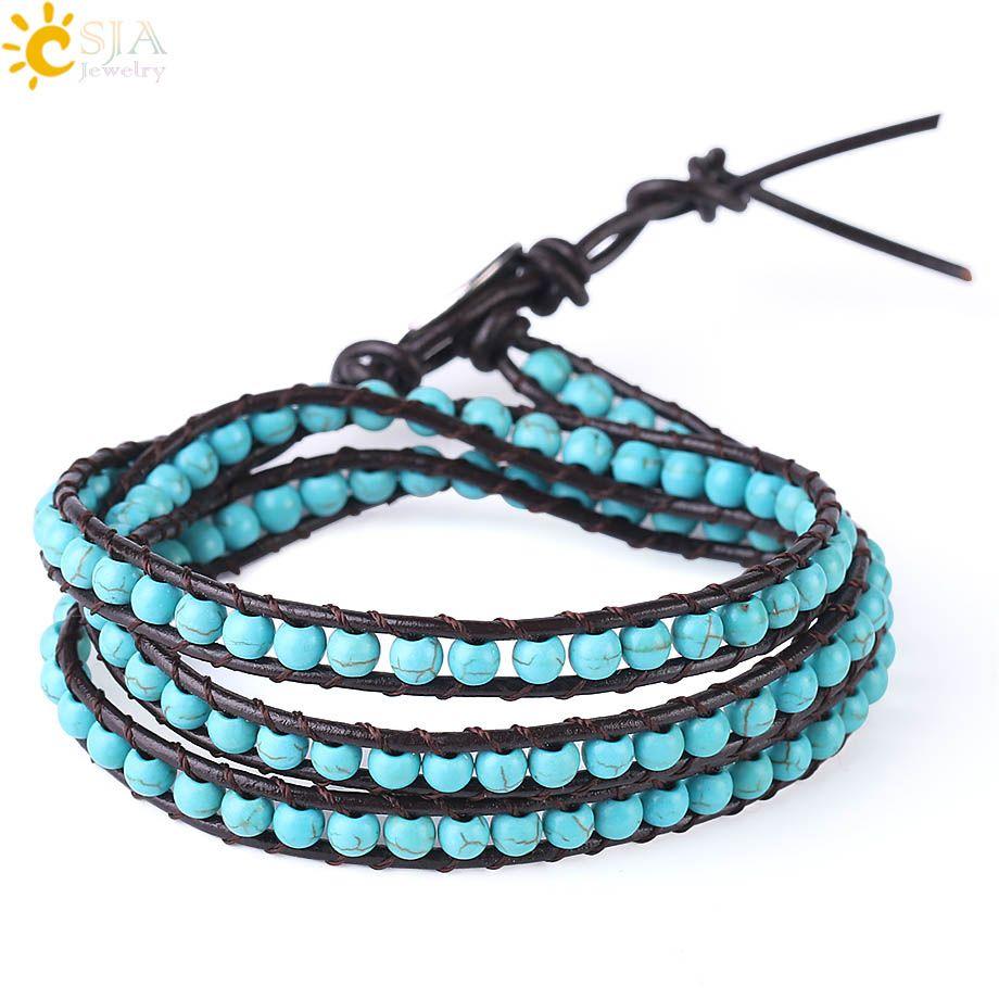 CSJA Bohemian Leather Bracelets Green Turquoise Gemstone Multilayer Beaded Wrap Bracelet for Girls Women 6mm Wide Handmade Boho Jewelry S141