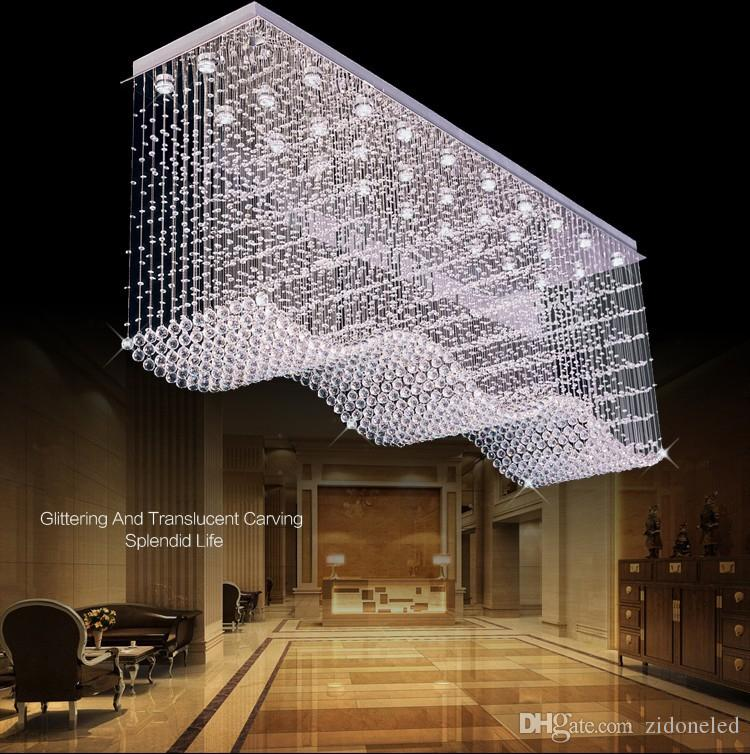 Modern Lage LED Crystal Chandelier Lighting Raindrop Square Wave Crystal Ceiling Chandeliers for dining room/Lobby/kitchen island
