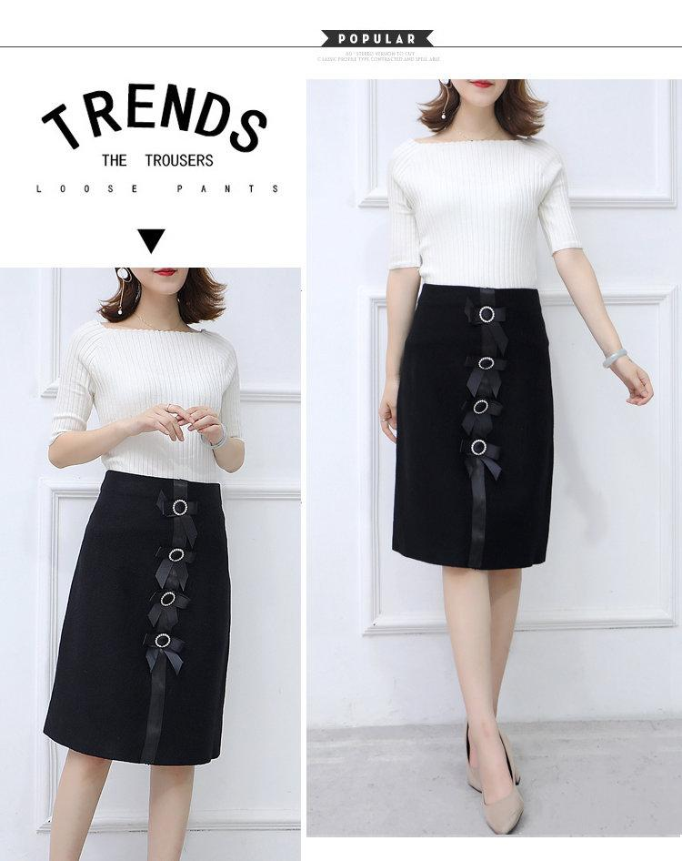 New 2019 Skirt Autumn Elegant Office Skirts Women High Waist Faldas Mujer Casual Black Skirt Chic Bow Saia Femme Invierno (4)