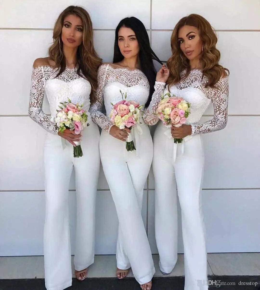 Großhandel Sexy Schulterfrei Hosenanzug Brautjungfernkleider Spitze Langarm  Trauzeugin Kleid Weiß Abendkleider Von Dresstop, 17,17 € Auf De.Dhgate.Com