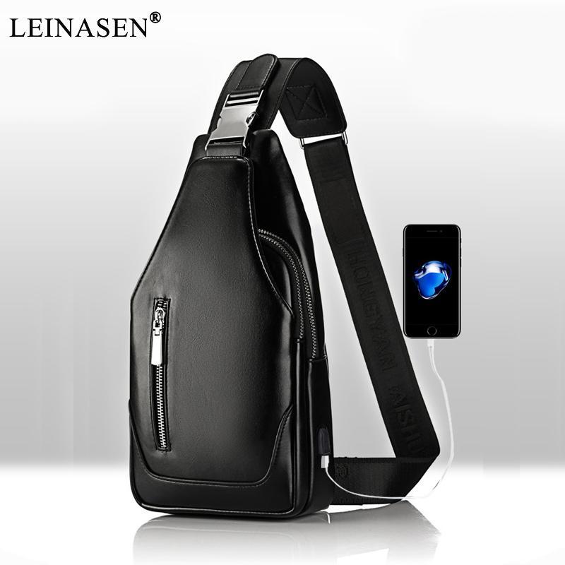 2017 Hombres Mensajero cuero de la PU de carga Pequeño pecho bolsa de mensajero de la honda MenFemale Moda bolsa de viaje Crossbody USB