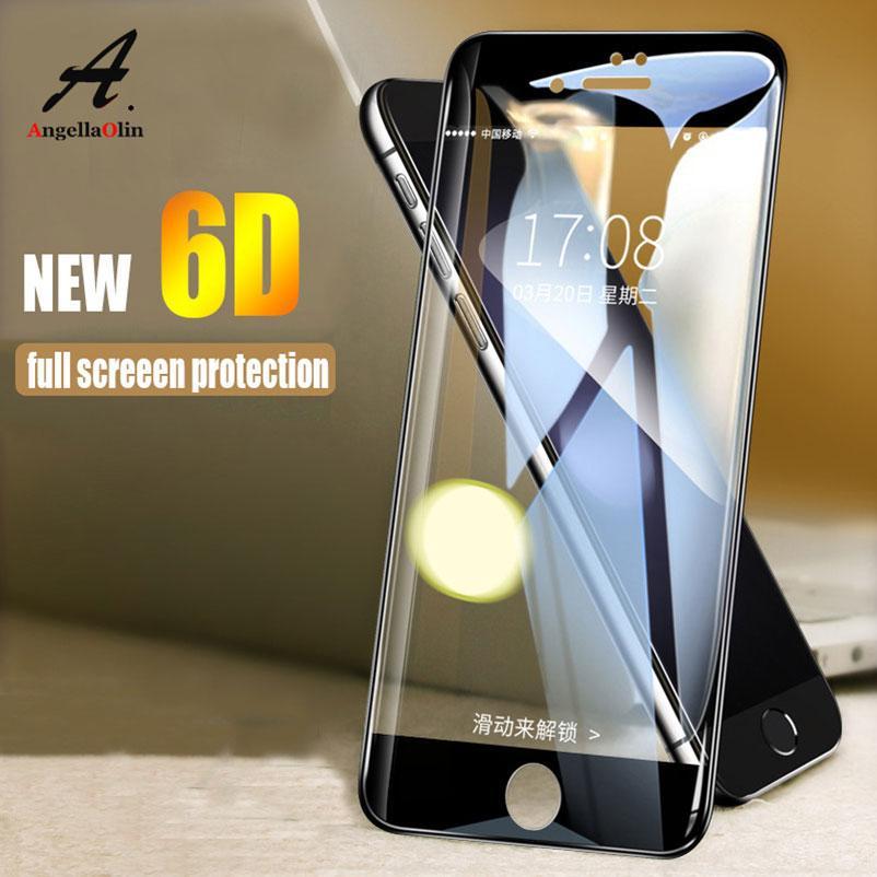 Top 6D Curved Edge 9H Vidrio templado para iphone X 10 8 7 6 6s más 6+ 7+ 8+ 6S + protector de pantalla Full Cover Film Case Glass